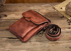 Cool Brown Leather Mens Belt Pouch Mini Shoulder Bag Belt Bag For Men