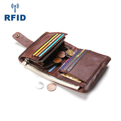 Cool Leather Mens Small Bifold Brown Wallet Short Wallet RFID Front Pocket Multi-card Wallets for Men