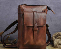Cool Leather Mens Small Belt Bag Belt Pouch Waist Bag Mini Side Bag For Men