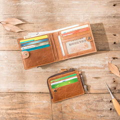 Cool Leather Mens Trifold Slim Front Pocket Wallets Small Wallet for Men
