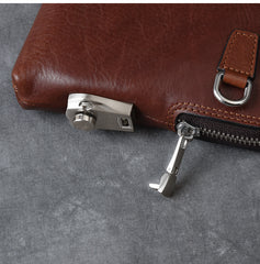 Cool Leather Mens Brown Business Clutch Bag Black Long Wallet For Men