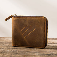 Cool Leather Vintage Mens Small Wallets Zipper Short Wallets for Men