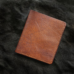 Cool Brown Leather Mens Vertical Small Wallet billfold Wallet Bifold Slim Wallet For Men