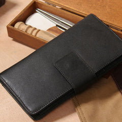 Cool Men long Leather Wallet Black Multi Cards Wallet for Men