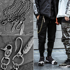 Cool Men's Skull Long Feather Pendant Hip Hop Stainless Steel Pants Chain Biker Wallet Chain For Men