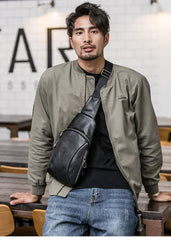 Cool Mens Black Leather Sling Bag Chest Bag Soft Black One Shoulder Backpack Sling Backpack for men