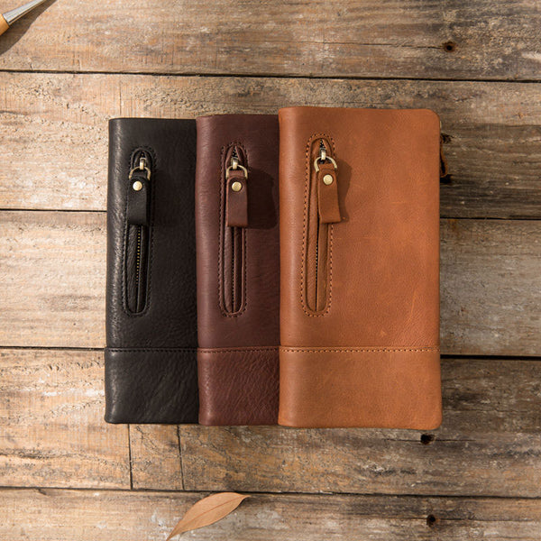 Cool Mens long Wallet Leather Bifold Wallet Long Wallets for Men