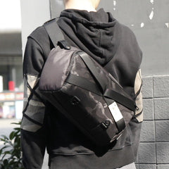 Cool Nylon Cloth Casual Men's Stitching Sling Bag Black One Shoulder Backpack Side Bag For Men