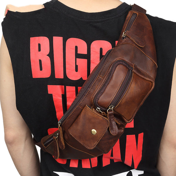 Cool Retro Leather One Shoulder Backpack Chest Bag Sling Bag Sling  Crossbody Bag For Men