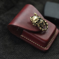 Wine Red Leather Mens Zippo Lighter Cases With Belt Loop Cool Zippo Lighter Holders For Men