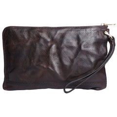 Cool Wrinkled Leather Mens Brown Long Wallet Wristlet Wallet Black Zipper Clutch Wallet for Men