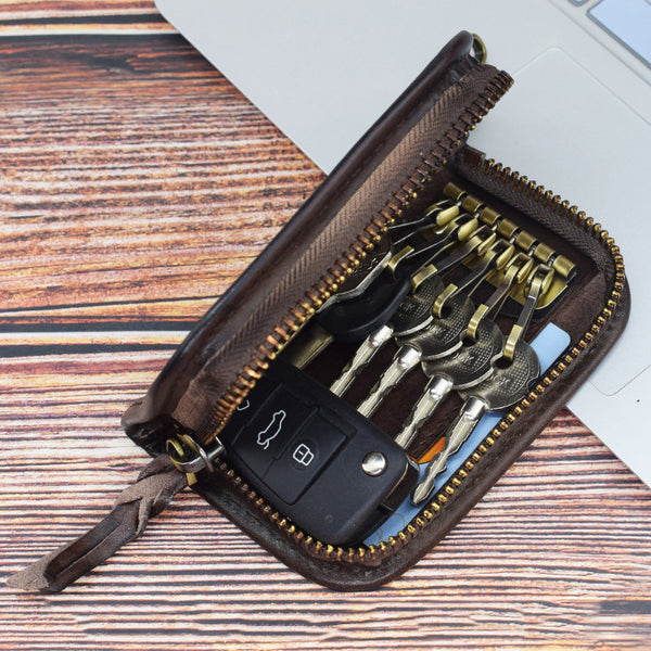 Vintage Embossed Brown Leather Men's Key Wallet Black Key Case Car Car Key Holder For Men