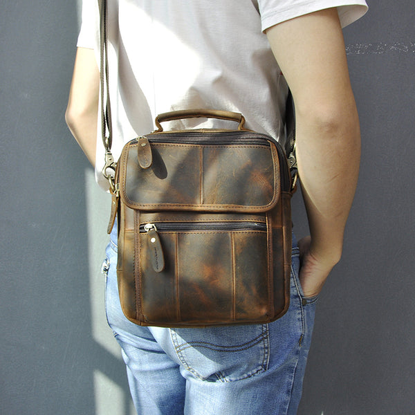 Dark Brown LEATHER MENS Vertical SHOULDER BAG SIDE BAG COURIER BAG MESSENGER BAG FOR MEN