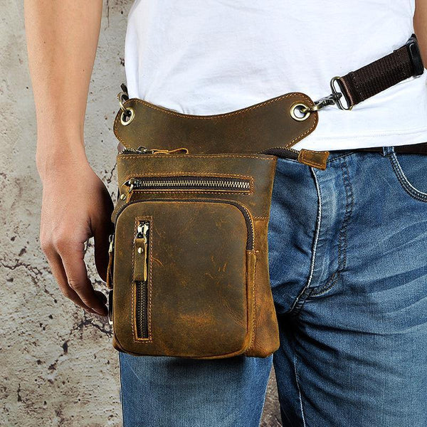 Dark Brown LEATHER MEN'S Belt Pouch Mini Side bag Vertical Phone Bag MESSENGER BAG Belt Bag FOR MEN