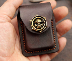Skull Brown Leather Mens S.T.Dupont Lighter Cases Ronson Lighter Holder For Men