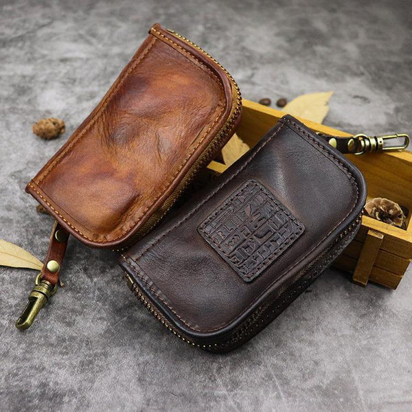 Black Leather Men's Key Holders Wallet Car Keys Wallet Brown Zipper Key Wallets For Men