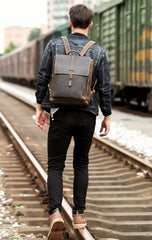 Casual Coffee Leather Mens 14 inches Laptop Travel Backpacks School Computer Backpack for Men