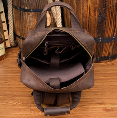 Dark Brown Casual Mens Leather 16inches Computer Backpacks Large Brown Travel Backpack School Backpacks for men