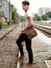 Cool Dark Brown Leather 10 inches Vertical Courier Bag Side Bags Messenger Bag for Men