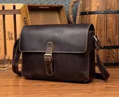 Cool Dark Coffee Leather 13 inches Postman Bag Messenger Bags Side Bag for Men