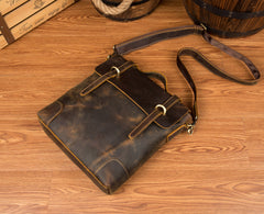 Vintage Brown Cool Leather 13 inches Vertical Briefcase Messenger Bags Side Bags for Men
