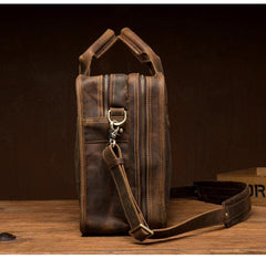 Cool Dark Brown Mens Leather 15 inches Large Briefcase Work Bag Side Bag Travel Handbag for Men