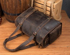 Cool Brown Leather 15 inches Weekender Bag Travel Shoulder Bags Duffle Luggage Handbags for Men