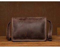 Cool Dark Brown Mens Leather 8inches Small Courier Bag Side Bags Messenger Bags for Men