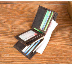 Cool Brown Leather Mens Bifold Small Wallet Thin Front Pocket Wallet Trifold billfold Wallet for Men