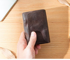 Dark Brown Cool Leather Mens Card Wallets Bifold Vintage Front Pocket Wallet Coin Holder for Men