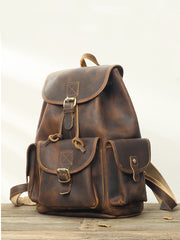 Dark Brown Cool Mens 13 inches Leather Backpacks Travel Backpacks Brown Laptop Backpack for men