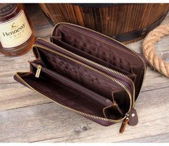 Cool Dark Brown Mens Bifold Zipper Long Wallet Clutch Wallet Wristlet CellPhone Wallet for Men