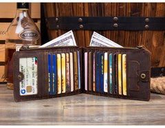 Cool Dark Brown Mens long Card Wallet Mutlicard Wallet Card Wallet Bifold Long Wallet for Men