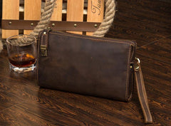 Dark Brown Cool Mens long Clutch Wallet Wristlet Wallet Clutch Bag Large Long Wallet for Men