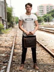 Fashion Dark Brown Leather 11 inches Postman Bag Messenger Bags Courier Bag for Men