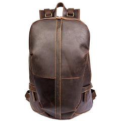 Fashion Brown Mens Leather 15-inch Computer Backpacks Black Travel Backpacks School Backpack for men
