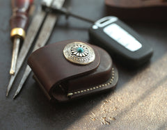 Dark Brown Handmade Genuine Leather Mens Car Key Case Car Key Holder For Men