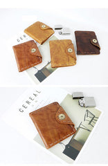 Dark Brown Handmade Leather Mens Card Wallet Small Bifold Card Holder Front Pocket Wallet For Men