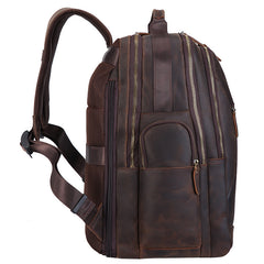 Dark Brown Leather Men's 17-inch Huge Computer Backpack Large Travel Backpack Large College Backpack For Men