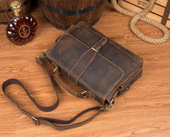 Cool Dark Brown Leather Mens 14 inches Briefcase Laptop Bags Business Side Bag Work Bag for Men