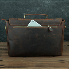 Vintage Brown Leather Mens 15 inches Laptop Work Bag Handbag Briefcase Shoulder Bags Business Bags For Men