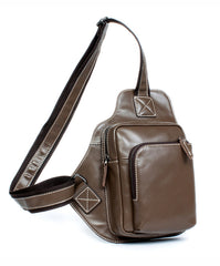 Dark Brown Leather Mens Cool Sling Bag Crossbody Pack Black Chest Bag for men