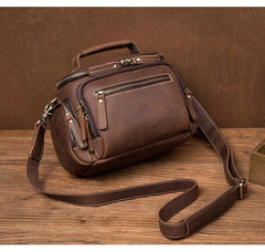 Vintage Dark Brown Leather Mens Camera Shoulder Bag Small Messenger Bag Courier Bag for Men