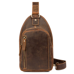Vintage Brown Leather Mens Sling Bag Cool Crossbody Pack Chest Bags for men