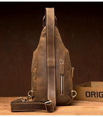 Cool Dark Brown Leather Mens Crossbody Pack Sling Bags Brown One Shoulder Pack Chest Bag for men