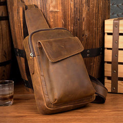 Cool Dark Brown Leather Mens Sling Bag Crossbody Pack One Shoulder Pack Brown Chest Bag for men