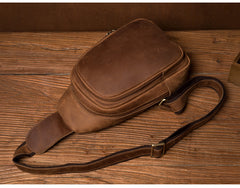 Cool Dark Brown Leather Mens Cool Sling Bag Crossbody Pack Brown Chest Bag Sling Pack for men