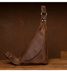 Vintage Brown Leather Mens Sling Bag Coffee Cool Crossbody Pack Chest Bag for men