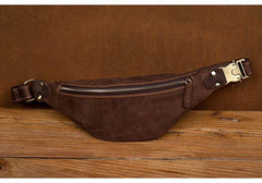 Vintage Brown Mens Leather Mens Fanny Pack Brown Waist Bag Hip Pack Belt Bag Bum bag for Men