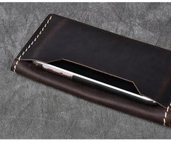 Dark Brown Leather Mens Long Wallet Bifold Brown Clutch Long Wallet For Men